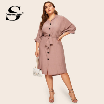 Sheinside Plus Size Casual Button Detail Shirt Dress Women 2019 Spring Half Sleeve Straight Dresses Ladies Solid Midi Dress