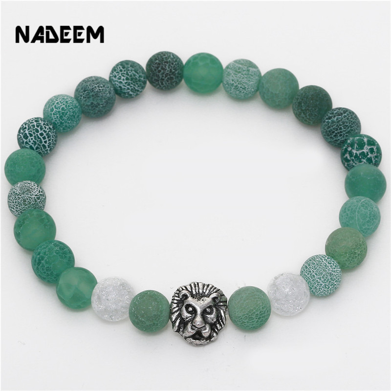 Drop Shipping Silver Color Leo Lion Head Charm Bracelet Green Weathering Stone Bead Bracelet Elastic Bracelet Men Women Gift