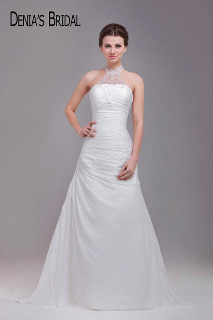 Beaded Halter Neck Wedding Dresses Ruched Court Train Bridal Gowns Custom  Made