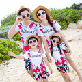 New Summer Family Matching Outfits Mum daughter Dad son t shirt pants flower family Boy Girl Tops shorts sets