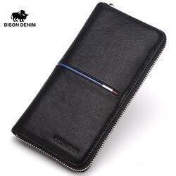BISON DENIM Genuine Leather Wallet Men Business black Clutch Wallets long wallet Organizer Zipper coin card holder N8150&N4437