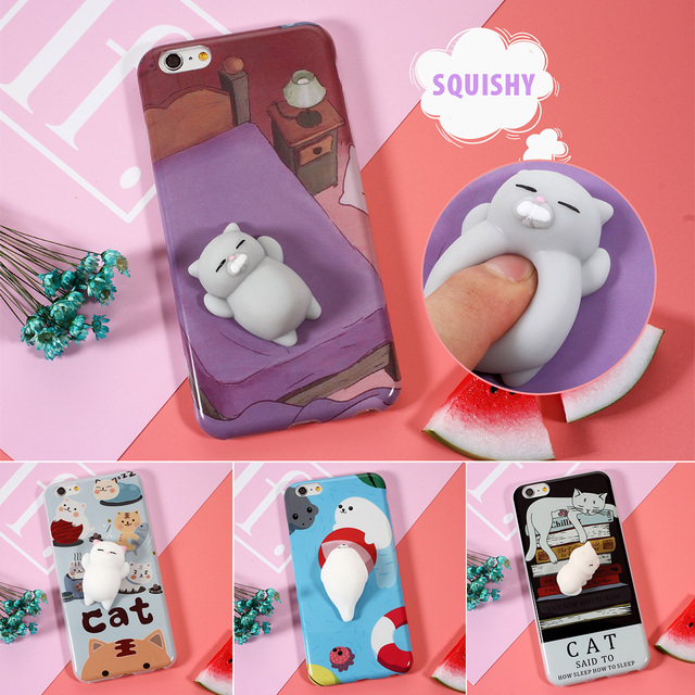check out 6e973 f8a42 US $4.99 |Japanese Squishi Phone Case for iPhone 7 7 plus 3D Cute Soft  Silicone Pappy Squishy Cat for i6 6s plus Kitty Cover Housing Coque-in  Fitted ...