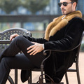 Men's Genuine Leather Clothing Winter 2016 Velvet Mink Double-faced Fur Fashion Long Section Coat Turn-down Collar GSJ400