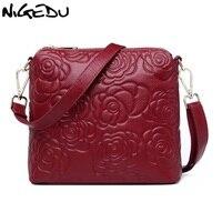 NIGEDU brand design Echtes Leder Frauen Umhängetasche Mode blumen Crossbody Tasche für kleine tasche damen Taschen Femininas