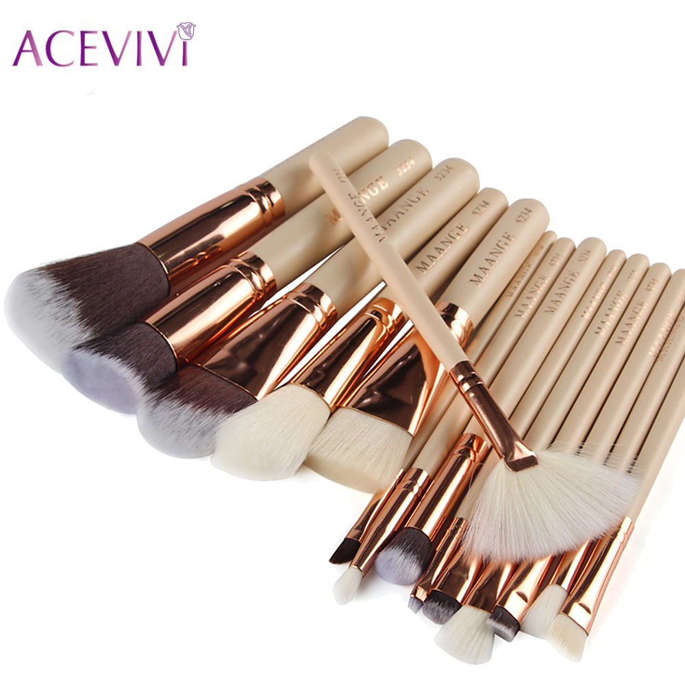 ACEVIVI Professional Soft Makeup Brushes Set 15pcs Foundation Pincel Maquiagem Eyeshadow Concealer Eyeliner Lip Brush Tool acevivi 12pcs makeup brush kit professional cosmetic set powder foundation eyeshadow eyeliner lip brush tool pincel maquiagem