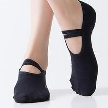 6 Colors Women Cotton Yoga Socks with Anti-slip Ladies Sport Pilates Socks black invisible Workout Dance Ballet Socks Hosiery