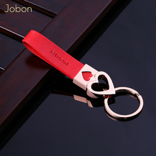 ФОТО brand jobon women men keychains red leather key ring lovers friends gift for car key chain holder accessories