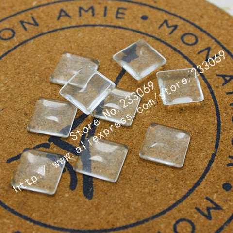 50pcs Square Clear Glass Cabochons Settings15*15mm Fit Cabochon Pendant Settings  T0067