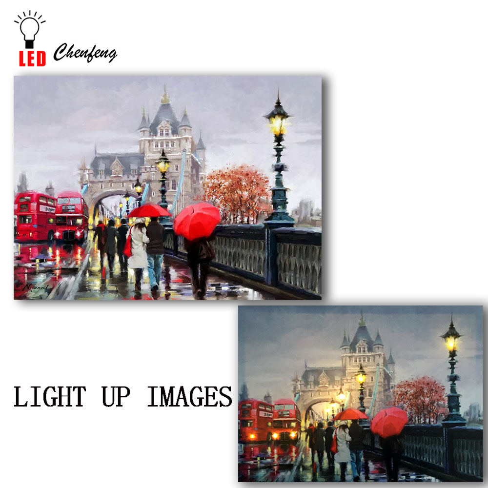 Lighted led canvas print Walk Under the Rain in London street scene oil painting wall picture art home decor gift