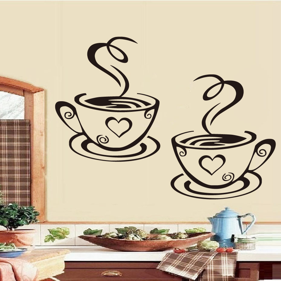 DCTOP Double Coffee Cups Wall Stickers On The Kitchen Vinyl Art Wall Decals Adhesive WallPapper Room Decoration Home Decor