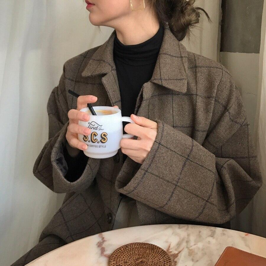 Abrigo Cuadrado Vintage 9169 Mezclas Tipo A ~ Lana Abrigos Paño Mujeres Cuadros De 6qqnprtw8