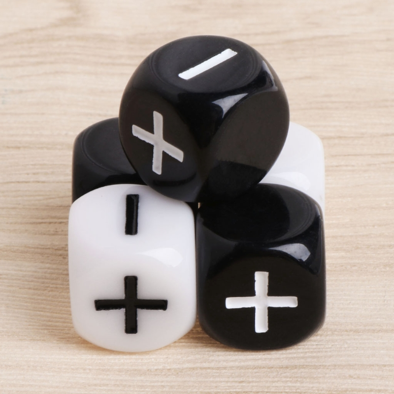 10pcs 15mm Acrylic Cube Dice Beads Six Sides Portable Table Games Toy + - Black White