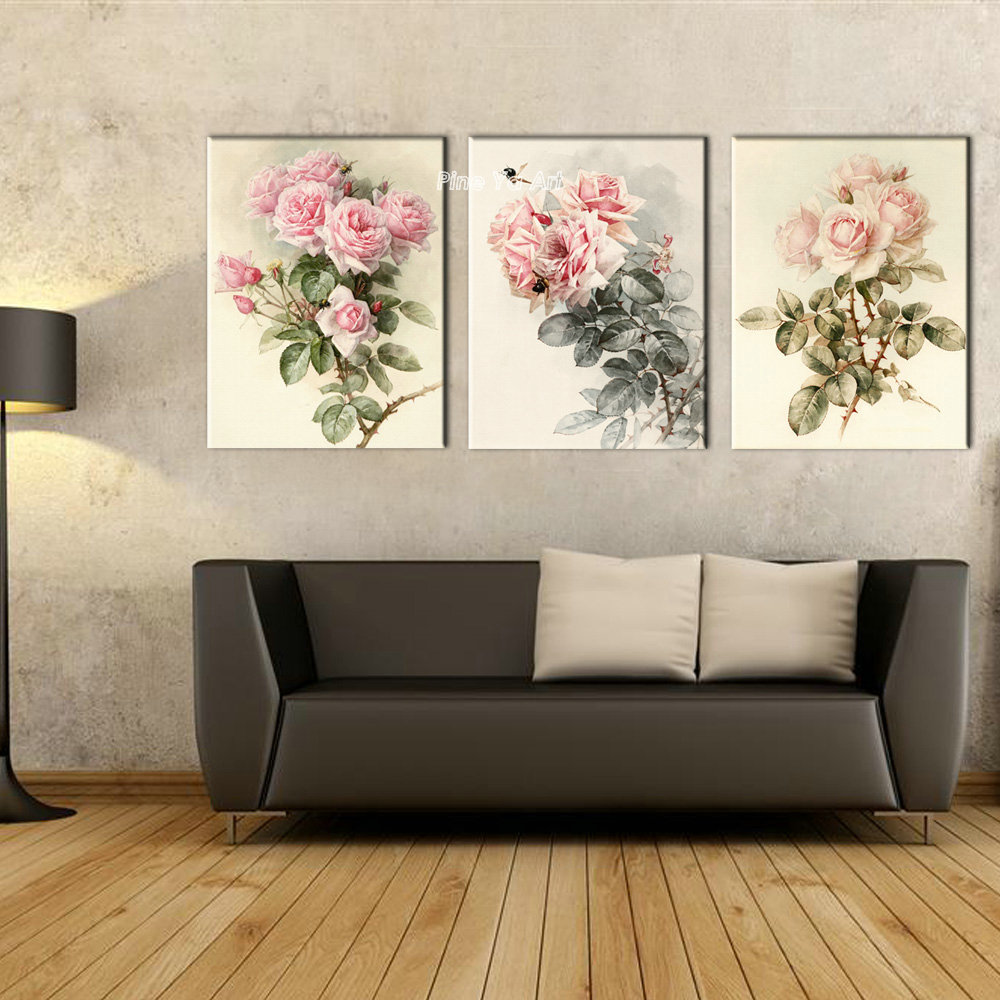 Triptych Cheap Modern Canvas Prints Rose Drawing Picture