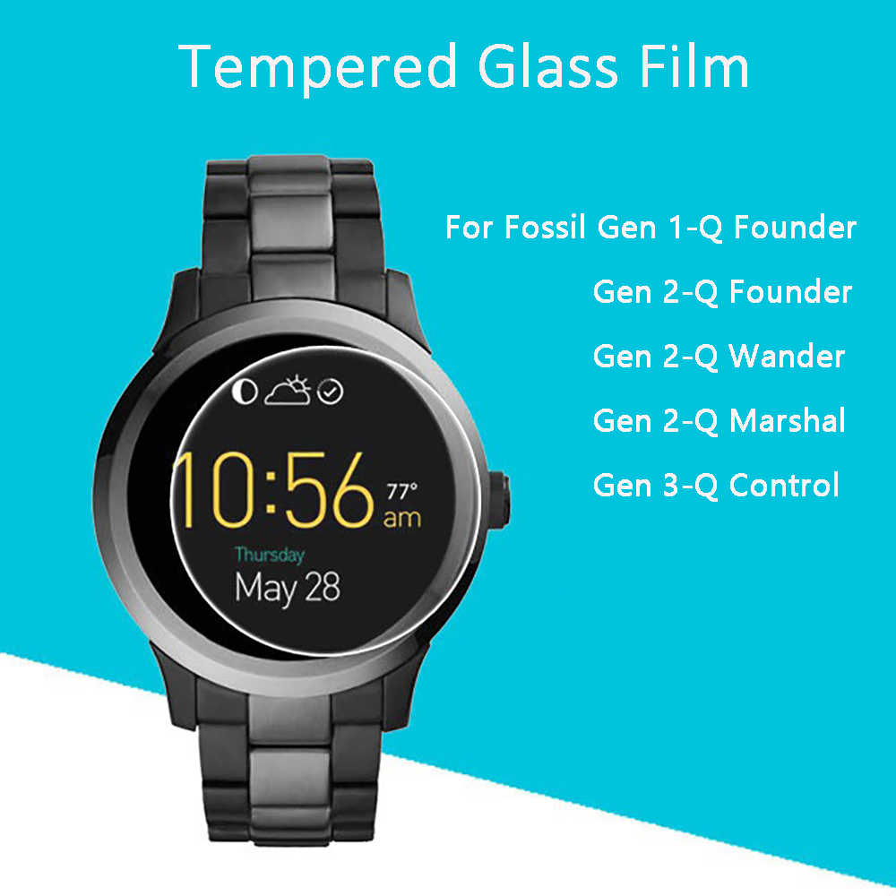 2.5D 9H Clear Tempered Glass Screen Protector Film For Fossil Q Founder/Wander/Marshal/Control Gen 1/2/3 Generation Smart Watch
