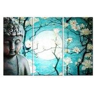 3 Sztuka Płótno Nowoczesne Drukowane Księżyc kwiat śliwy Malowanie Obrazu Obrazy Buddy Budda Ściany Płótno Dla Living Room Picture