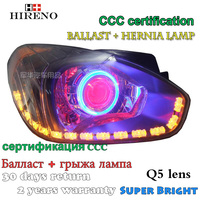 Hireno Modified Headlamp For Hyundai Accent 2006 2010 Headlight Assembly Car Styling Angel Lens Beam HID