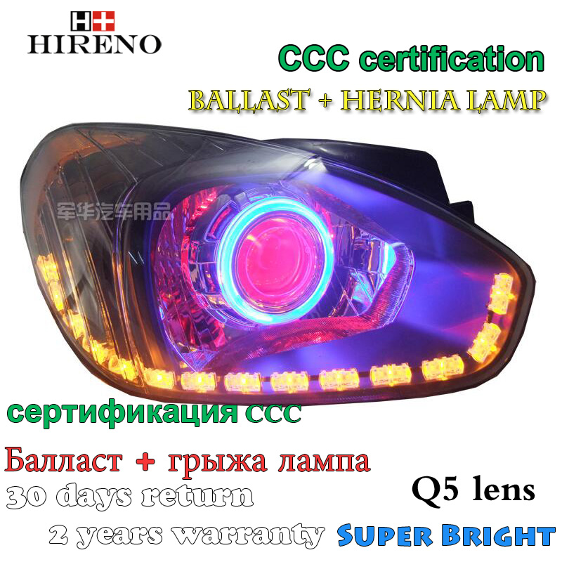 Hireno Modified Headlamp for Hyundai accent 2006-2010 Headlight Assembly Car styling Angel Lens Beam HID Xenon 2 pcs