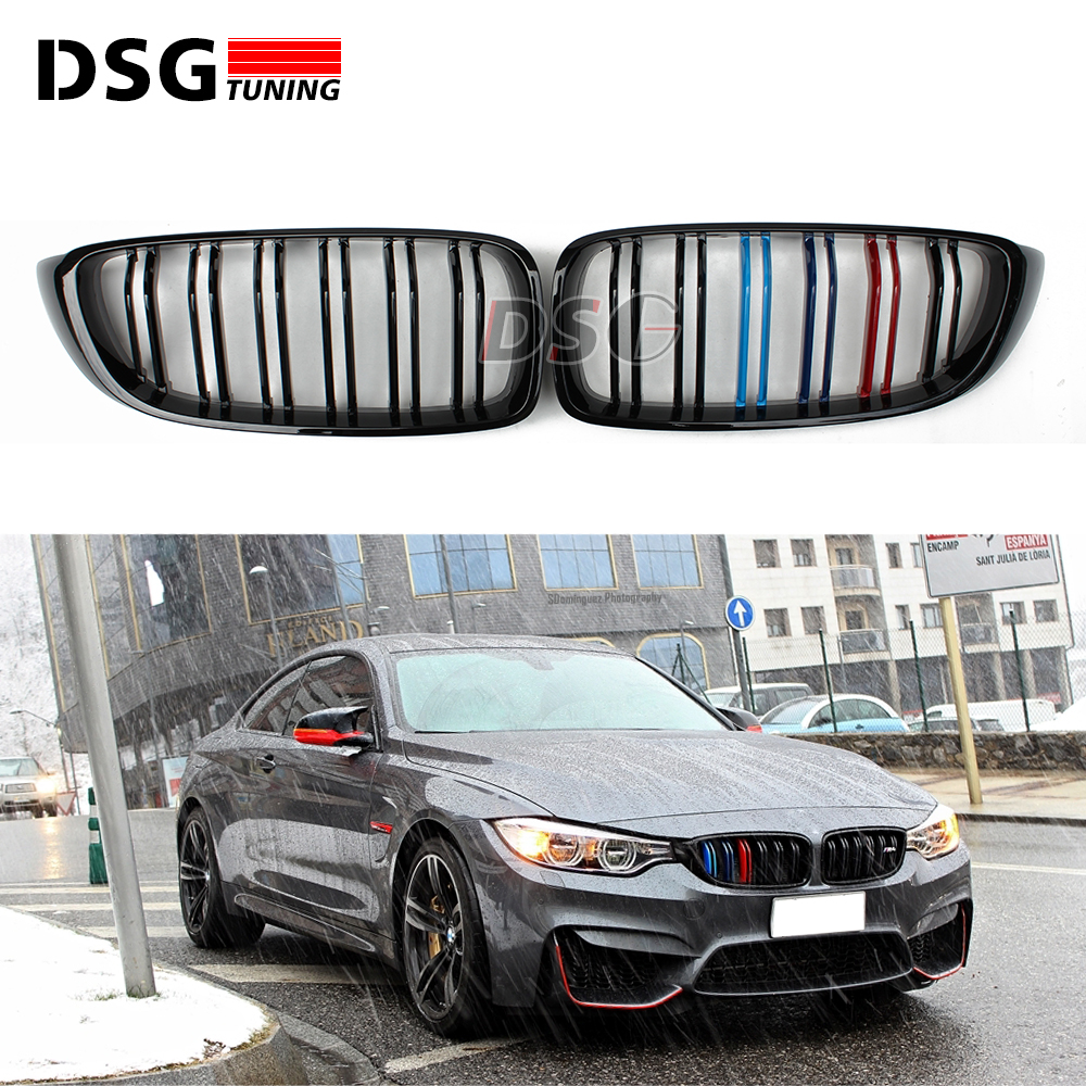 F32 F33 M4 Look ABS Front Bumper Racing Mesh Grills For BMW 4 Series F36 F80 F82 2014 2015 2016 M Color Grille With M4 Emblem car front bumper mesh grille around trim racing grills 2013 2016 for ford ecosport quality stainless steel