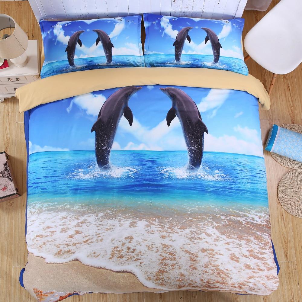 ⊹En forma de corazón romántico patrón delfines y azul mar playa ...