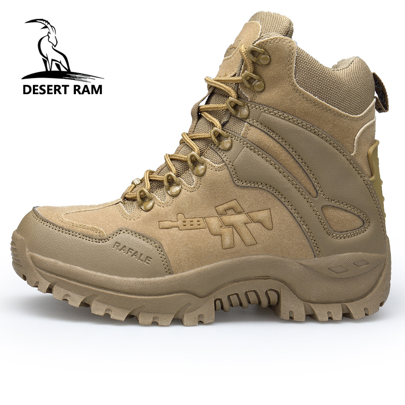 DESERT RAM Brand Men's Boots Military boot Chukka Ankle Bot Tactical Big Size Army Male Shoes Safety Combat Mens Motocycle Boots