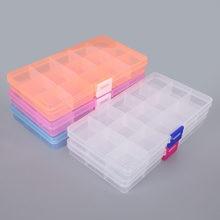 Boîtes de rangement en plastique à 15 fentes, emballage réglable, boîte à outils transparente, boîte de rangement artisanale, accessoires de bijoux