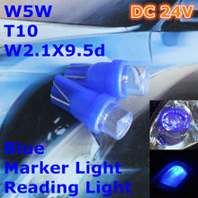 24V LED Blue Color Car Bulb Lamp T10(10mm Flood Lamp)W5W W2.1X9.5d for Door Trunk Boot Licence Reading Light(China)