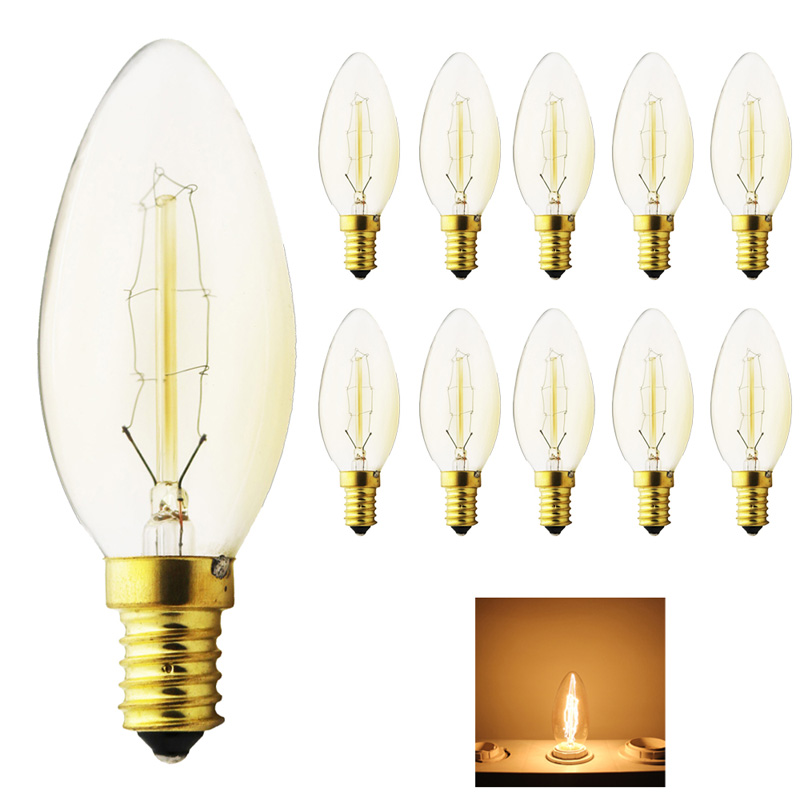 10X Tungsten vintage Edison lamp Dimmable 40W G35Carbon Art antique style light bulbs Warm White E14 220V Halogen Bulbs Lighting