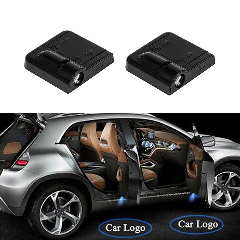 2 piezas de coche inalámbrico LED Bienvenido Logo Proyector láser para BMW de la sombra del fantasma de estilo cortesía lámpara para audi