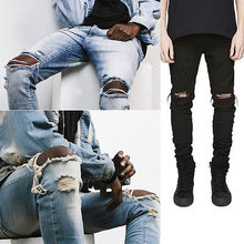 Fashion Men Straight Slim Pants Denim Jean Pants Ripped Skinny Trousers New Men's Jeans Clothes