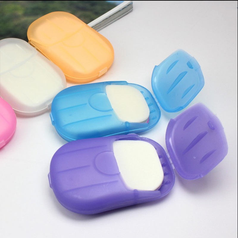 2PCS Flower Aroma Paper Soap With Storage Box Portable Plate Case For Home Shower Travel Hiking Container Bathroom Accessories