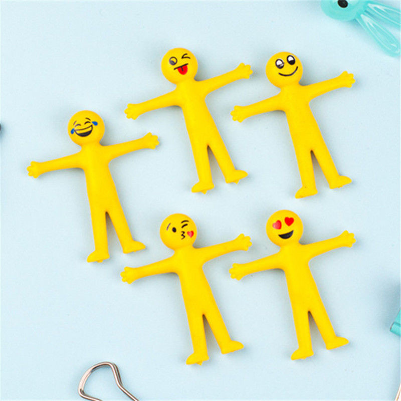 5pcs/set Elastic Silicone Soft Squeeze Jumbo Squishy Emoji Toys Emoji Man Stress Relief Student Gift Home Decor