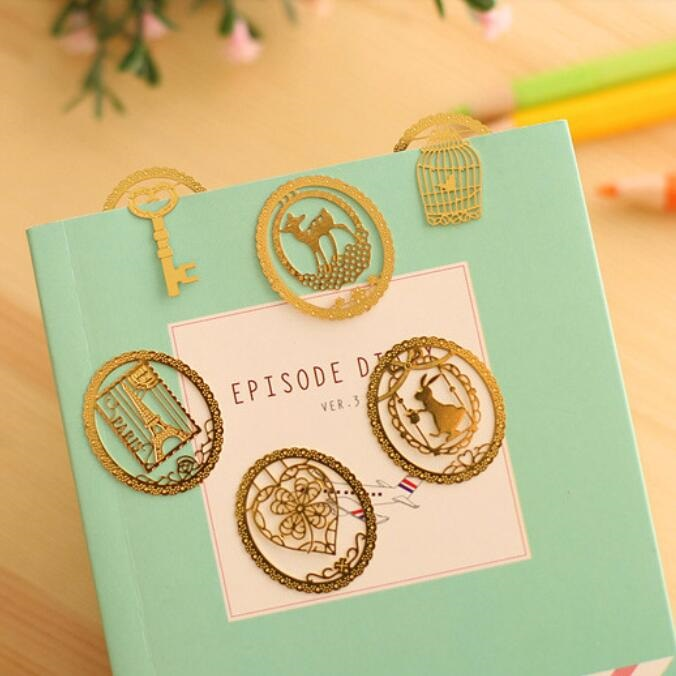 3packs/lot Kawaii Mini Hollow Dream Lace Metal Bookmark DIY Multifunction Golden Bookmarks Funny Gift Prize