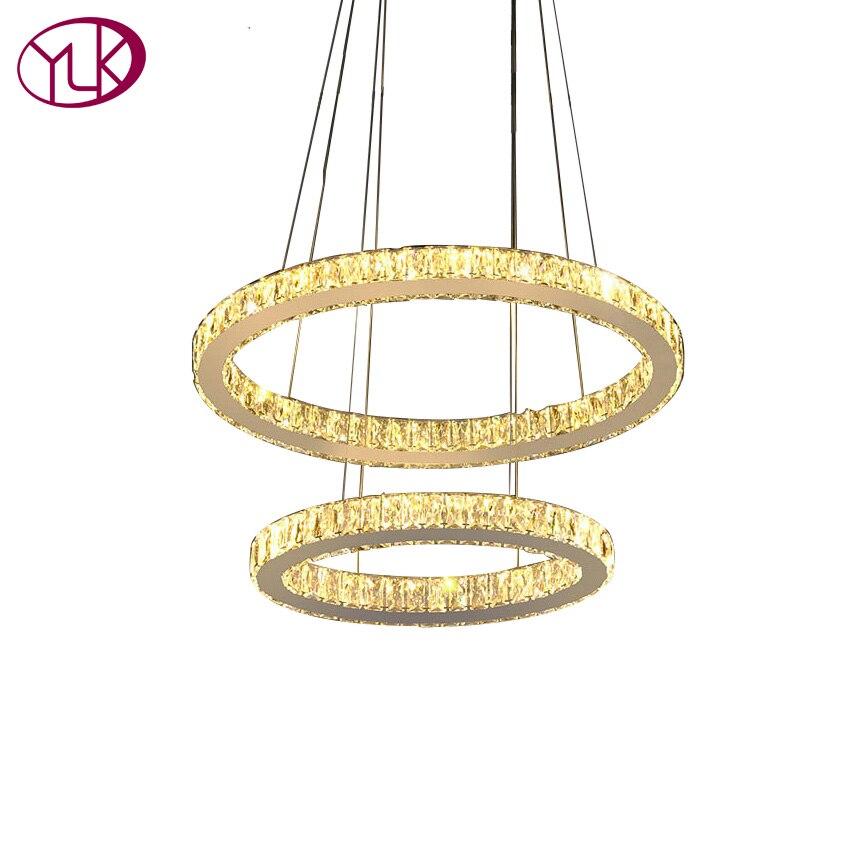 Hochwertige Moderne Kristall Lampe Doppel Kreise Hngen Licht Kronleuchter LED Lster De Cristal Lampen Wohnzimmer
