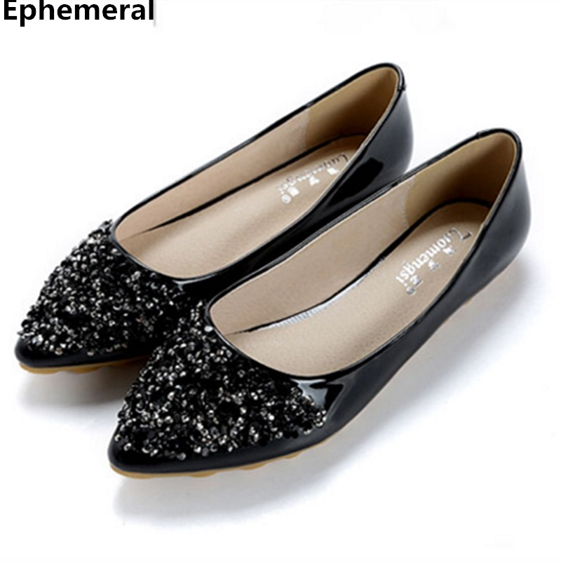 Flats mujer wedding party shoes for women patent leather slip on pointy toe bling loafers black and white plus size 12 11 10 9 plus big size shoes lovely rhinestone gradient colors women flats loafers shoes eu44 crystals decoration pointy toe flat shoes