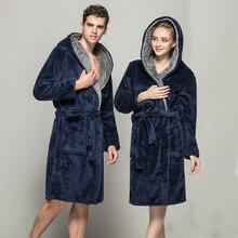 Centuryestar банный халат с капюшоном Одноцветный Халат длинный мужской фланелевый Халат De Chambre Homme Badjas Mannen зимнее леопардовое кимоно для мужчин