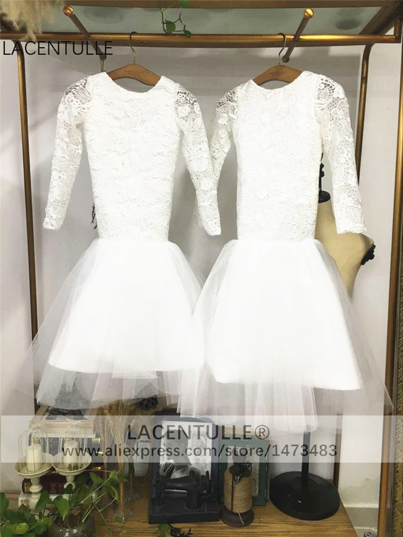 Long Sleeves Tulle Lace Mermaid Flower Girl Dress with Open V Back