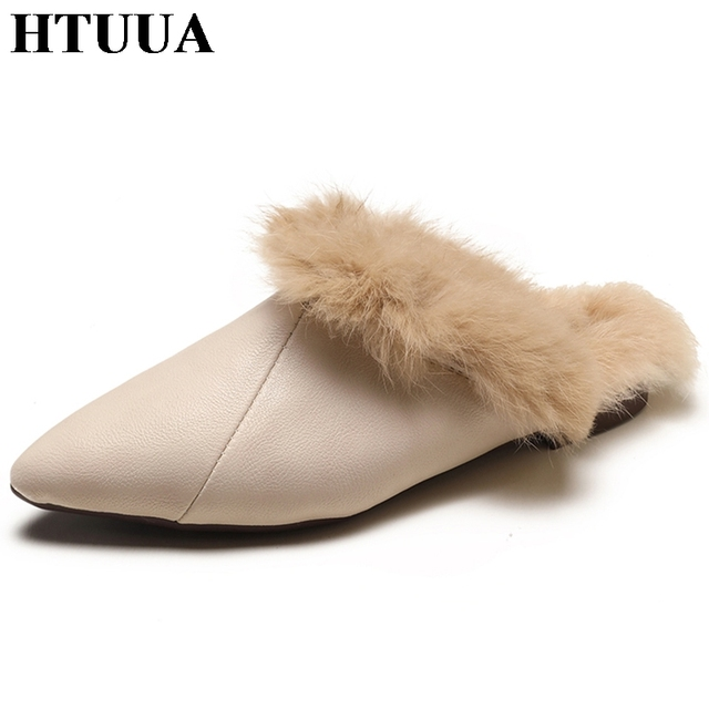 77305e5b1358 HTUUA Sexy Pointed Toe Mules Shoes Women Autumn Winter Warm Plush PU  Leather Slippers Fluffy Fur Slippers Flat Fur Slides SX1591