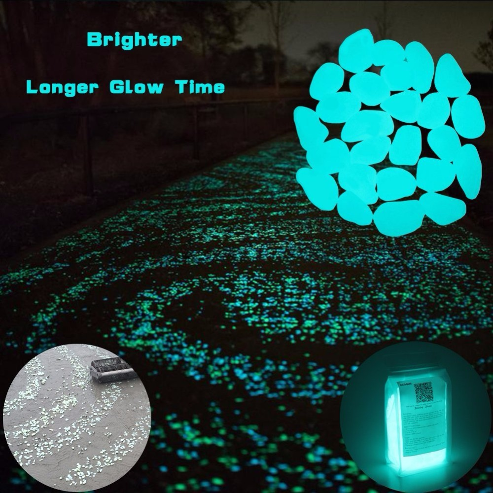400 Pcs Lueur dans le Foncé Jardin Cailloux Glow Pierres roches pour Les Allées Jardin Chemin Patio Pelouse Jardin Cour Décor, lumineux pierres