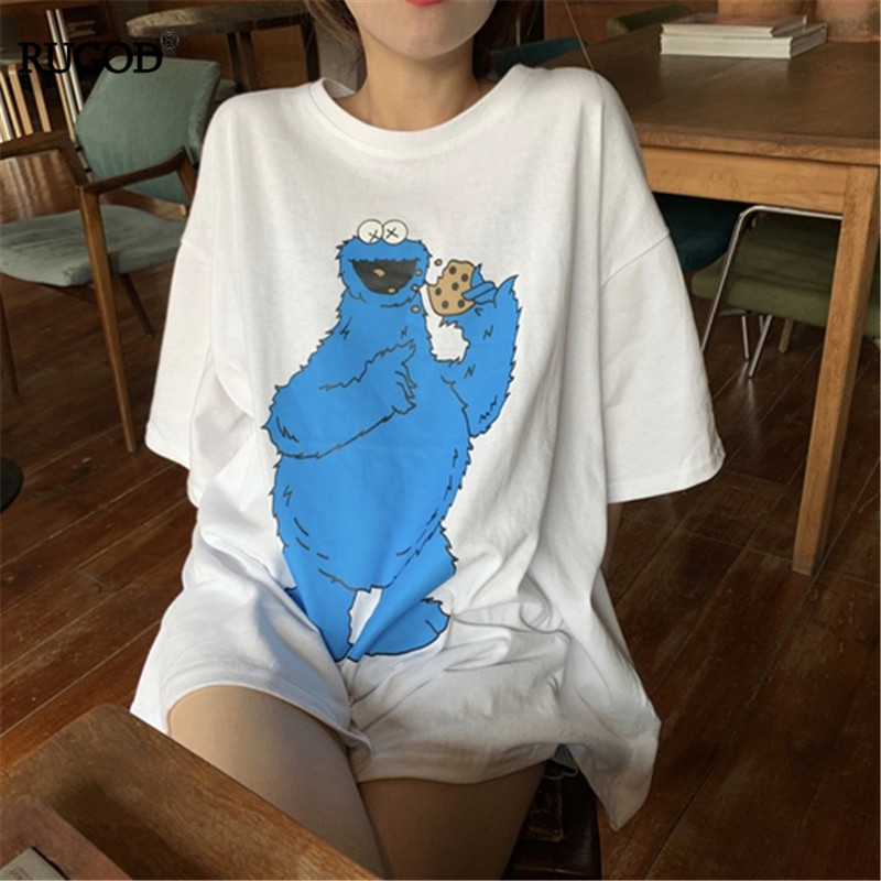 RUGOD 2019 Korea Summer Women O-neck Frog Print Loose Casual Lady T-shirts Pullover Preppy Stryle Cotton Tops