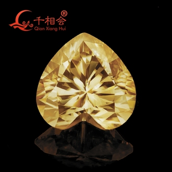 yellow color  heart shape moissanite loose gem stone  Sic material by qianxianghui (video is light yellow)