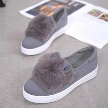 Slip ons zapatos plataforma pisos 2016 Nuevas botas de invierno Moda Real orejas de piel Zapatos de Mujer Zapatos de ocio Femenino de Corte Bajo Casuals dama