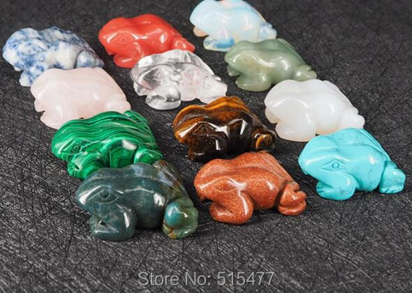 wholesale Natural crystal stones carvings Zodiac crystal frog 12 color set boxed