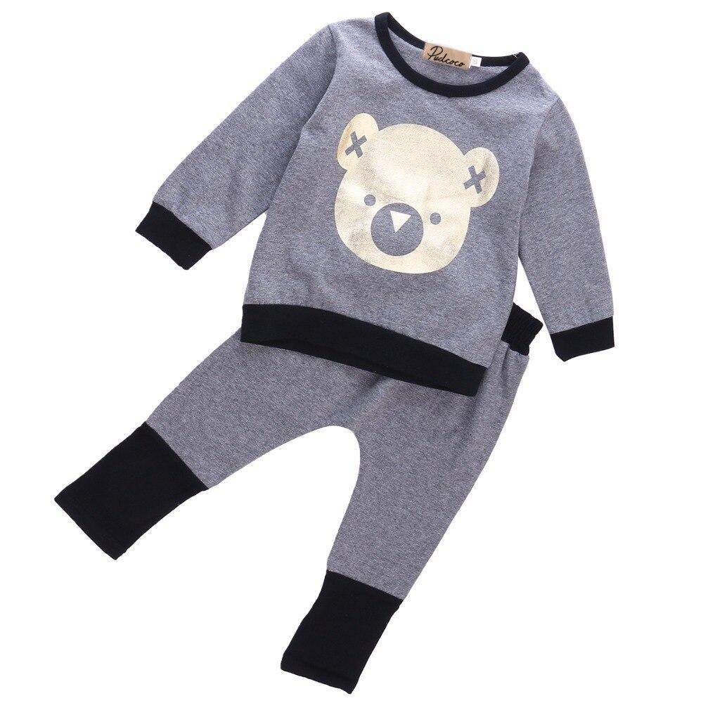 2PCS Toddler Kids Baby Boy Girl Clothes Set Autmn Winter Long Sleeve T-shirt Top Pants Outfits Bebek Giyim Cartoon Clothing Set