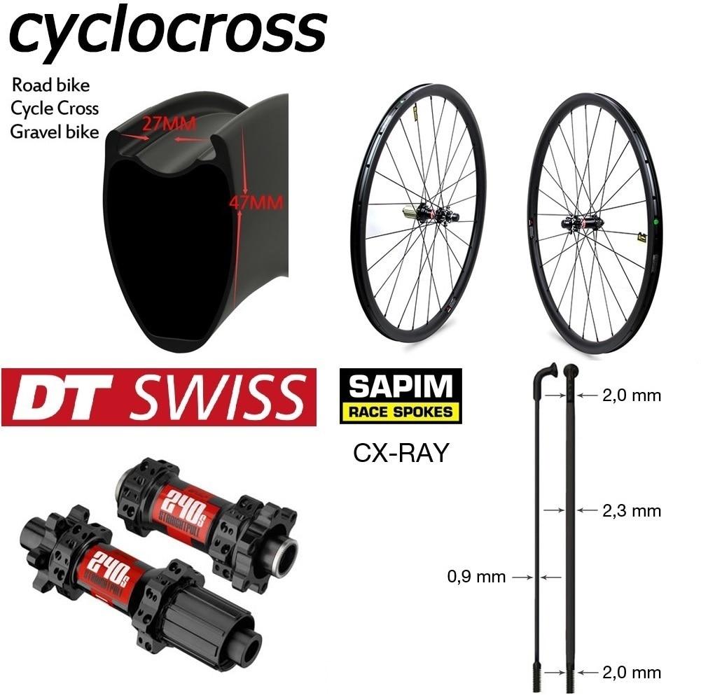 Super Light Weight Cyclocross Wheelset 700C Carbon Fiber Gravel Bike Wheel With DT Swiss 240 Disc Brake Sapim CX Ray Spoke