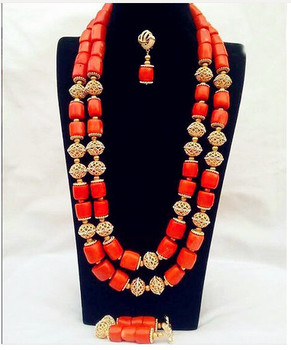Coral Necklace Earrings Nigerian Wedding African Coral Beads Jewelry Set for Women Bridal Statement Jewelry Free Shipping ABH455