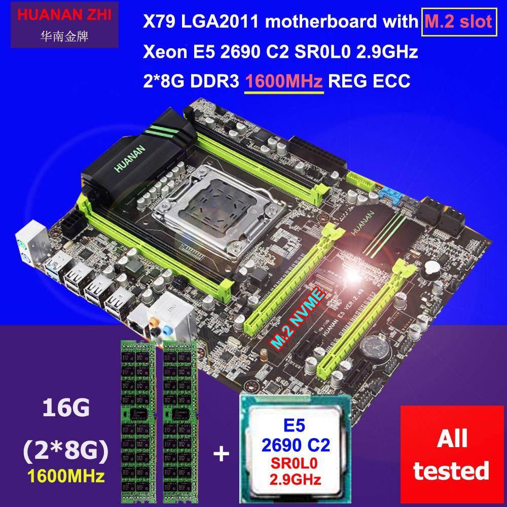 Descuento placa base HUANAN ZHI X79 Placa base con M.2 ranura CPU Intel Xeon E5 2690 C2 2,9 GHz memoria 16g 2 * (8) DDR3 1600 REG ECC