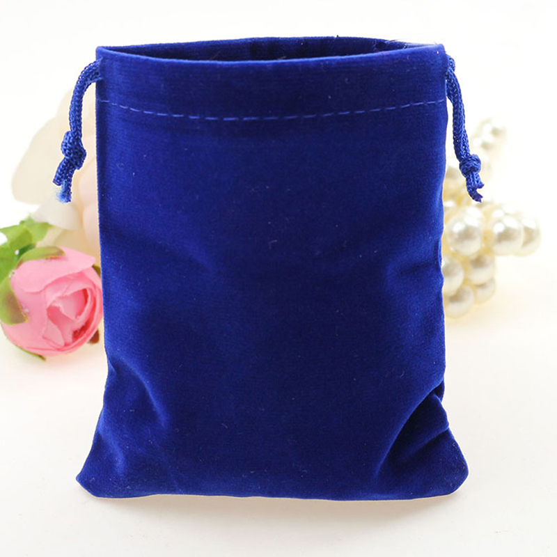 10*12cm 30pcs Royal blue jewelry velvet bags for packing gifts handmade diy women jewellery pouches Flannel bag Drawstring bag
