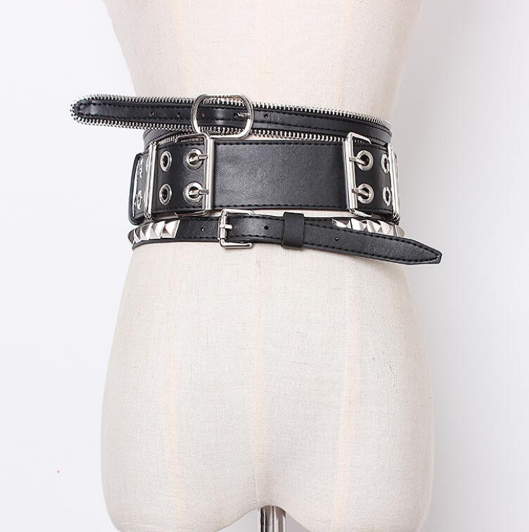 Women's Runway Fashion Rivet PU Leather Punk Cummerbunds Female Dress Corsets Waistband Belts Decoration Wide Belt R1418