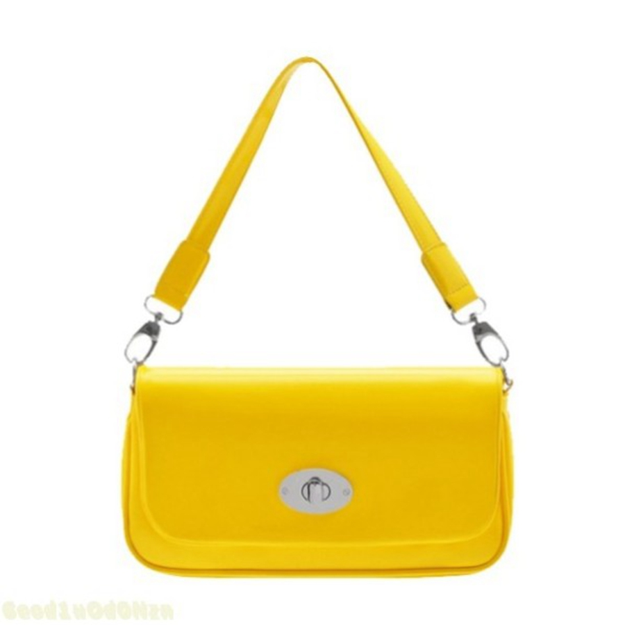 2017 Brand Women Handbag Clutch Shoulder Bag Yellow Little Handbags Small Patent Leather Tote
