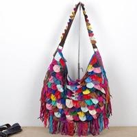 New Designer tassel women handbags Color stitching women shoulder bag ladies Messenger Cowhide Bags bolsa feminina sac a main